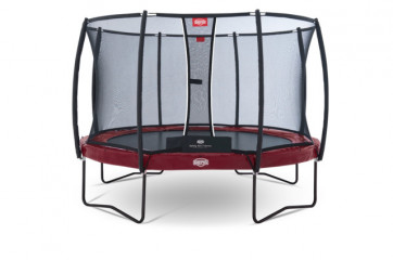 Berg Trampolin Elite+ Regular Rot 380 + Sicherheitsnetz T-Serie 380